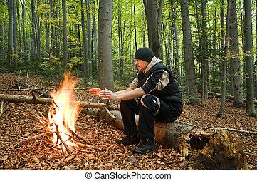 survival - alone men near the fire