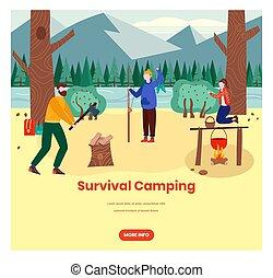 Survival camping vector web banner design template
