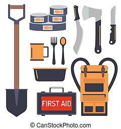 Survival emergency kit for evacuation vector equipment items...