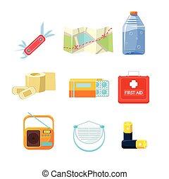 Survival emergency kit for evacuation, Items Active Rest. Vector Illustration Set