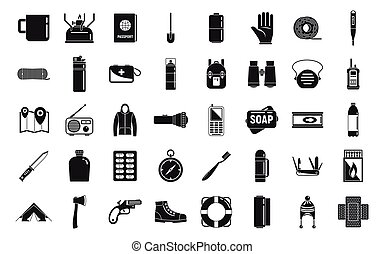 Survival equipment icons set, simple style
