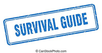 survival guide stamp. square grunge sign on white background...