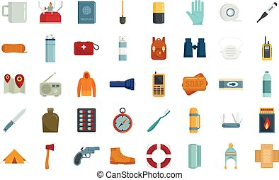 Survival icons set flat vector isolated
