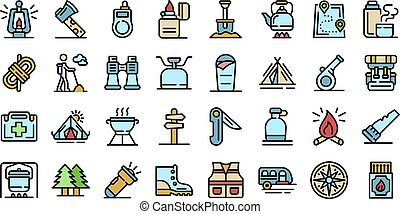 Survival icons set vector flat