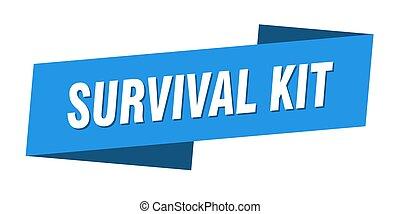 survival kit banner template. ribbon label sign. sticker - ...