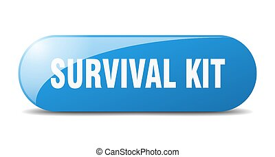 survival kit button. sticker. banner. rounded glass sign - ...