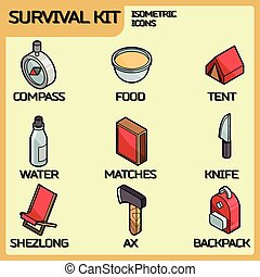 Survival kit color outline isometric icons