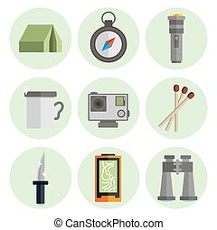 Survival kit flat icons set