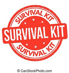 Survival kit grunge rubber stamp on white background, vector...