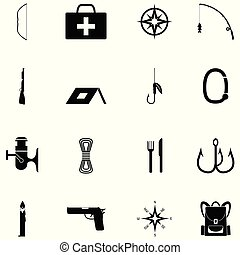 survival kit icon set