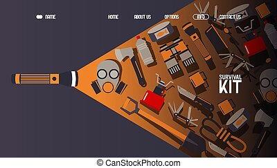 Survival kit inventory, website design, vector illustration. Basic equipment for emergency evacuation, landing page template. Gas mask, camping stove, binoculars