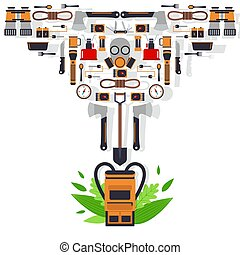 Survival kit isolated icons, vector illustration. Basic equipment for emergency evacuation, flat style emblem. Backpack, gas mask, ax, flashlight and rope. Set of survival tools