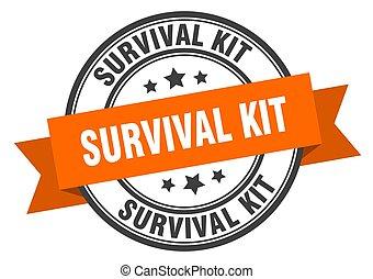 survival kit label sign. round stamp. band. ribbon - ...