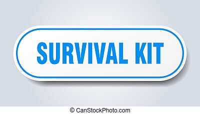 survival kit sign. rounded isolated button. white sticker - ...
