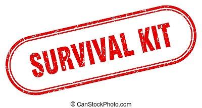 survival kit stamp. rounded grunge textured sign. Label - ...