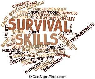 Survival skills - Abstract word cloud for Survival skills...