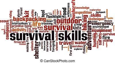 survival skills - Survival skills word cloud concept. Vector...