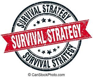 survival strategy round grunge ribbon stamp