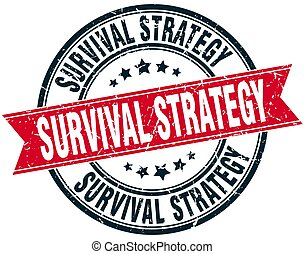 survival strategy round grunge ribbon stamp
