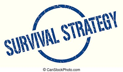 survival strategy stamp - survival strategy blue round stamp