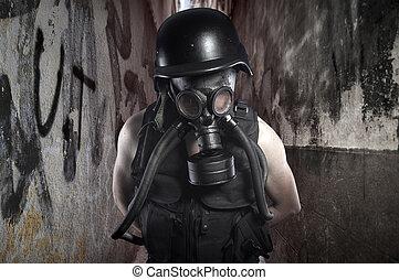 survival.environmental, disaster., állás, apocalyptic, túlélő, alatt, gáz álarc