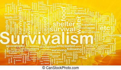 Background concept wordcloud illustration of survivalism international
