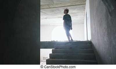 Survived man walking in the dark in abandoned building and...