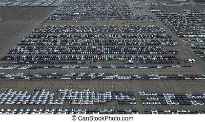 survol, garé, bas, bourdon, distribution, sommet, voitures, vue, prêt, expédition