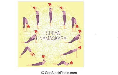 Surya Namaskara complex on yellow background with mandala