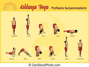 yoga sun salutation pose 13 vector illustration of yoga