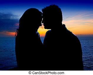 suset, dvojice, obejmout, láska, moře