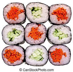 sushi, aislado, blanco