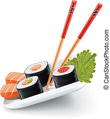 sushi, alimento japonês, com, peixe, e, chopsticks