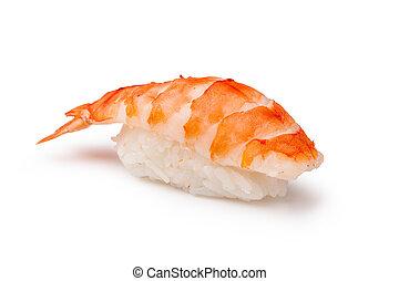 Sushi - ama Ebi Nigiri on a white
