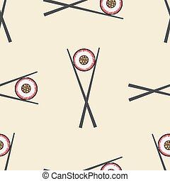 Sushi and chopsticks vector seamless pattern