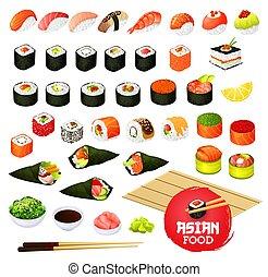 Sushi and rolls types, Japanese cuisine cooking. Vector temaki and sashimi, ikura and kappa or syaki with tekka maki, kappamaki and uramaki. Gunkan and inari sushi with shrimp, salmon or eel nagiri