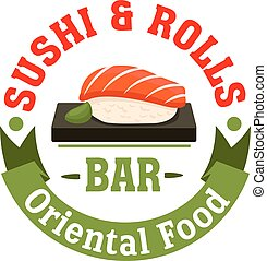 Sushi and Rolls. Oriental Japanese food bar