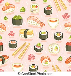 Sushi and rolls seamless pattern on pink background