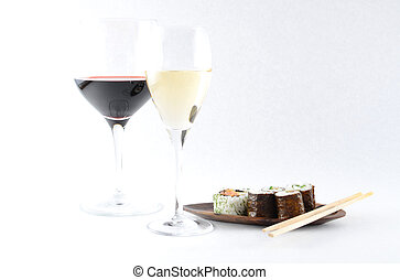 Sushi and wine