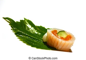 Sushi against a white background
