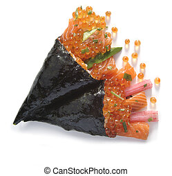 Sushi appetizer detail including fish eggs, salmon, and kani...