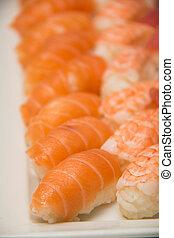 sushi, assortito, piatto da portata