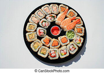 Close up of sushi assortment on a platter.
