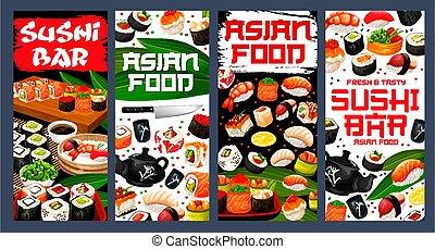 Sushi bar asian food banners, Japan restaurant - Sushi bar ...