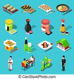 Sushi Bar Isometric Icons