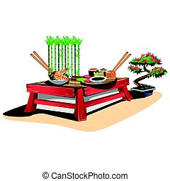 Sushi bar. Japanese cuisine in cartoon style. Vector illustration.