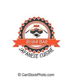Sushi bar label for japanese cuisine design