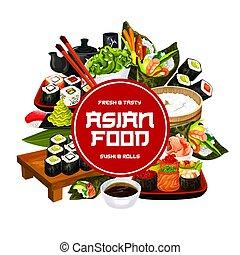 Sushi bar menu, Japanese sashimi and maki rolls - Japanese ...