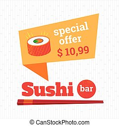 Sushi poster special offer on rolls. Logo sushi bar