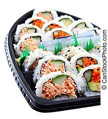 sushi, barco, variedad